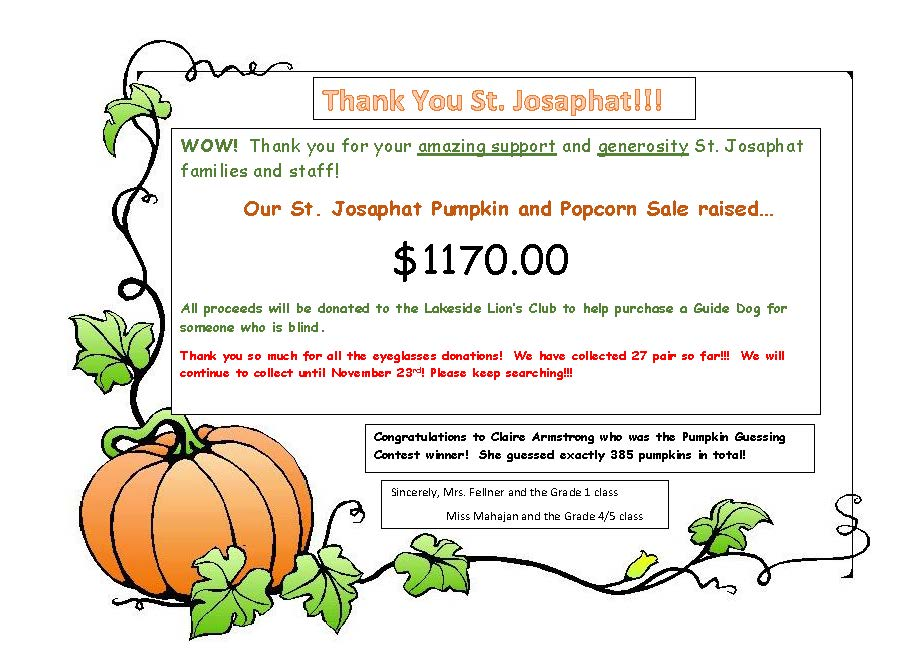 Pumkin Sale Thank You