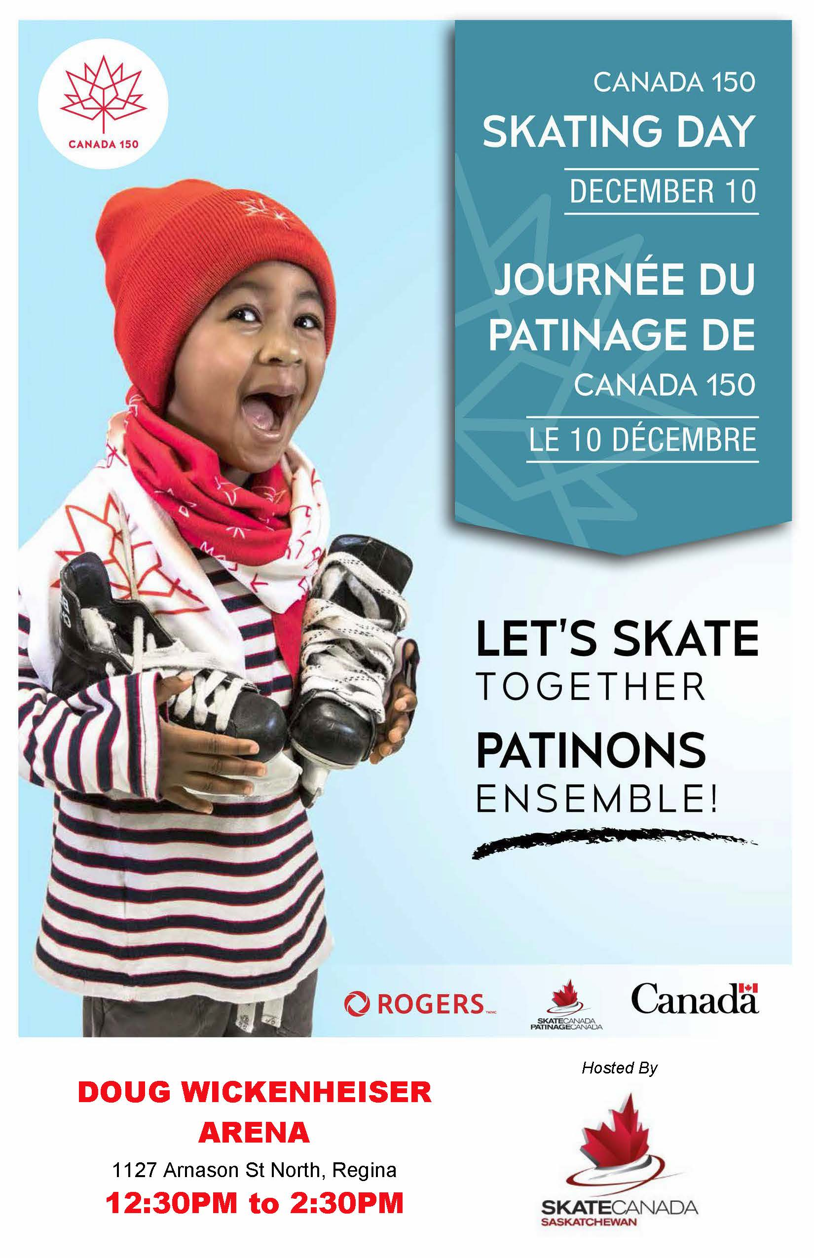 1Canada 150 Skating Day - Regina Customized Poster
