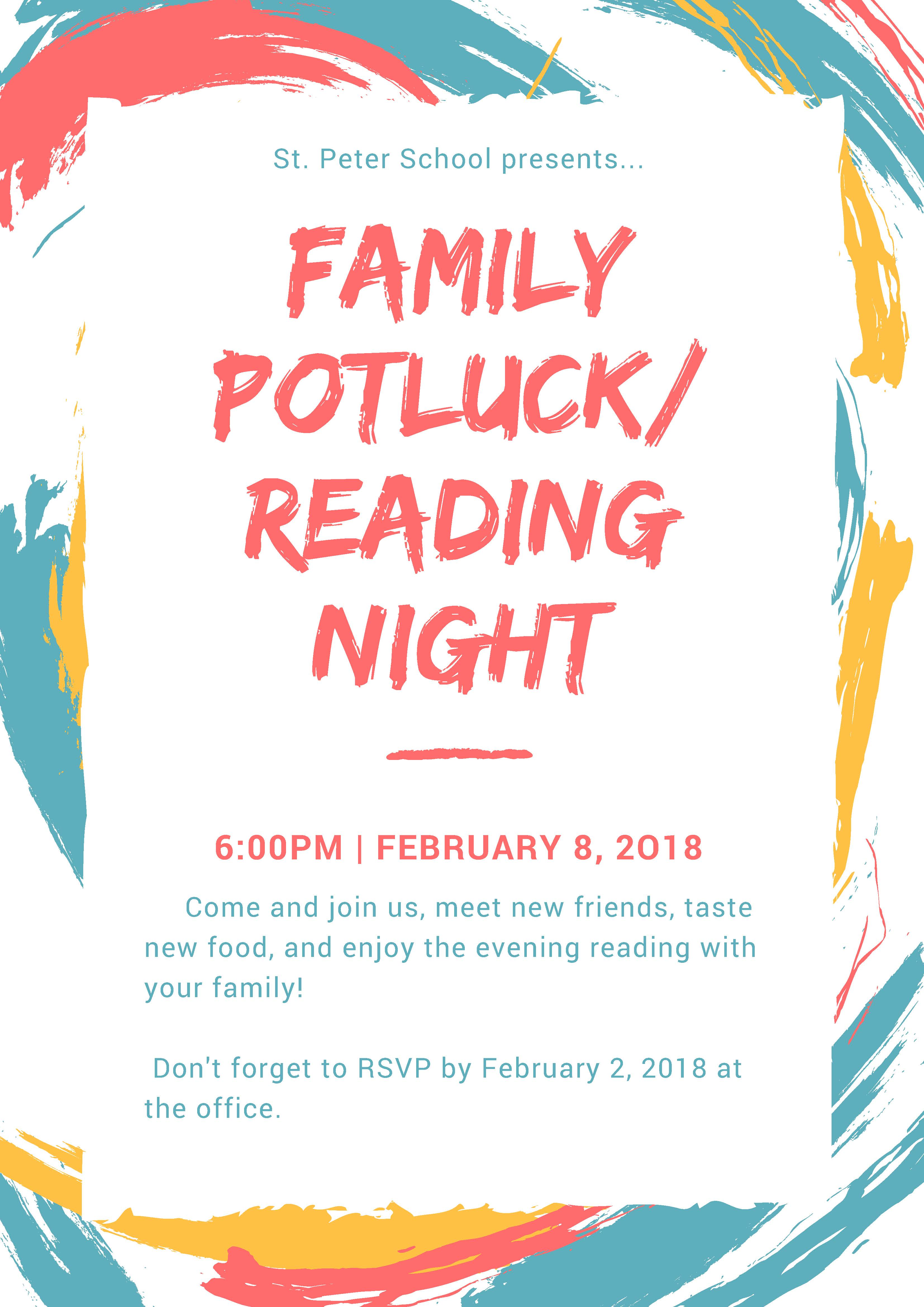 St. Peter School Family Potluck and Reading Night